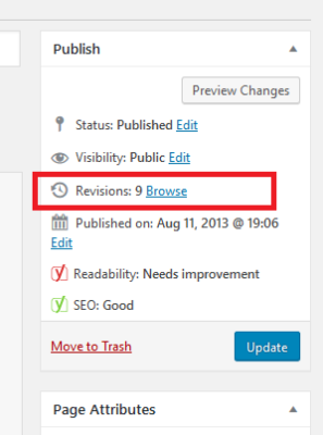 wordpress revisions screen capture